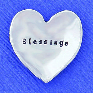 "Pewter Heart Shaped Trinket Dish ""Blessings"" - small"
