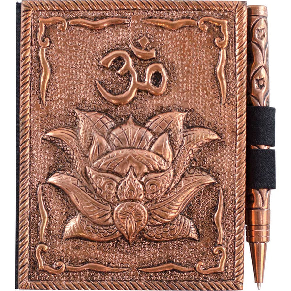 Bronze Metal Intentions Diary and Pen (Lotus and Om Design)