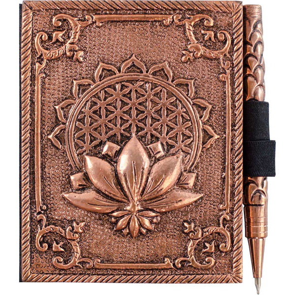 Bronze Metal Intentions Diary and Pen (Flower of Life Design)