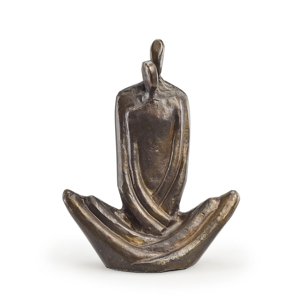 Bronze Sculpture of Couple in Seated Embrace