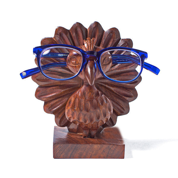 Peggy the Hand Carved Peacock Eyeglass Holder