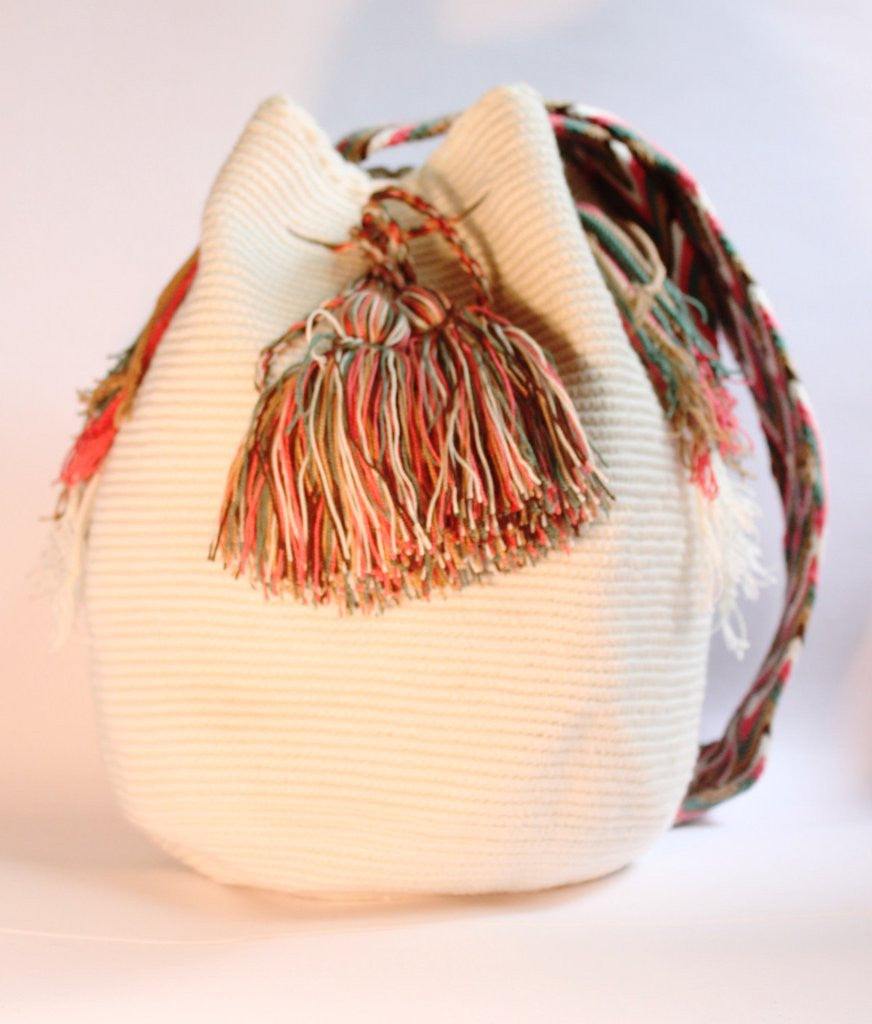 Wayuu Crossbody Mochila Bag - Cream