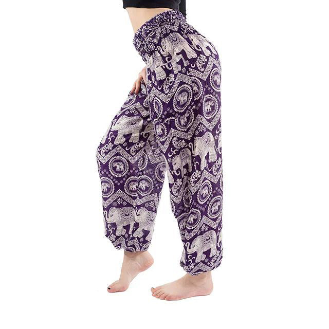 Dark Purple Elephant Print Yoga Pants
