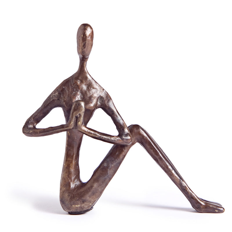 Bronze Sculpture of Female Yogi Practicing Twist Pose