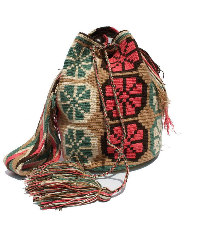 Wayuu Crossbody Mochila Bag - Tan-Pink-Aqua Green