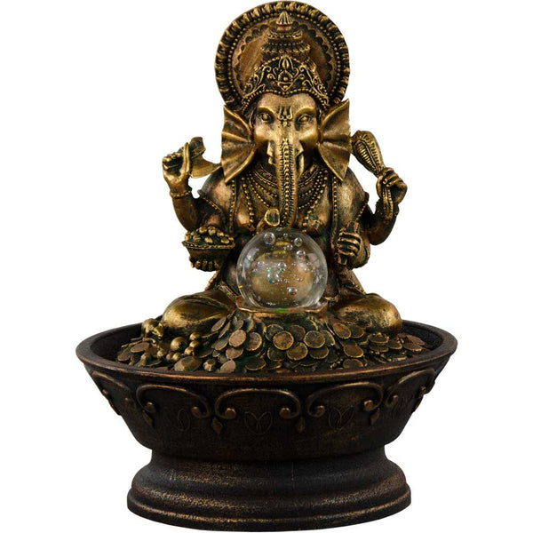Water Fountain With Ganesha Seated On Coins While Gazing at Rolling Crystal Ball