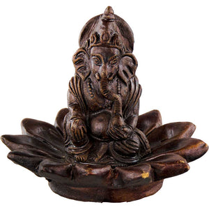 Handmade Ganesh on Lotus Clay Incense Holder