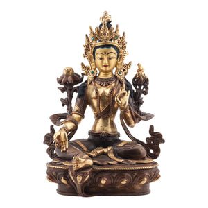 24kt Gold Plated Green Tara Statue