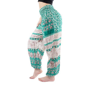 Green Blue Elephant Print Yoga Pants