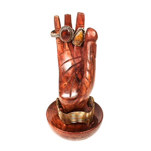 Wooden Hand of Buddha Ring and Jewelry Holder