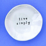 "Pewter Trinket Dish ""Live Simply"" - small"