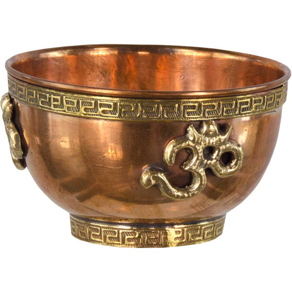 OM Copper Bowl - for Offerings, Crystal Recharge and Incense Burning