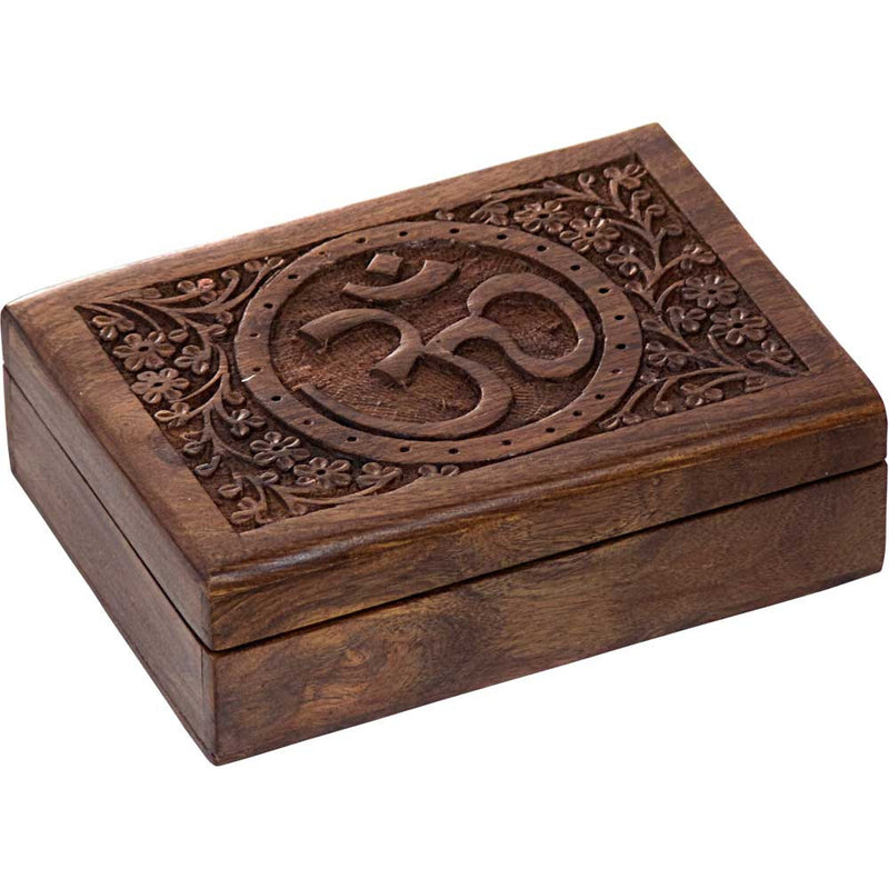 Carved Om and Filigree Wood Box