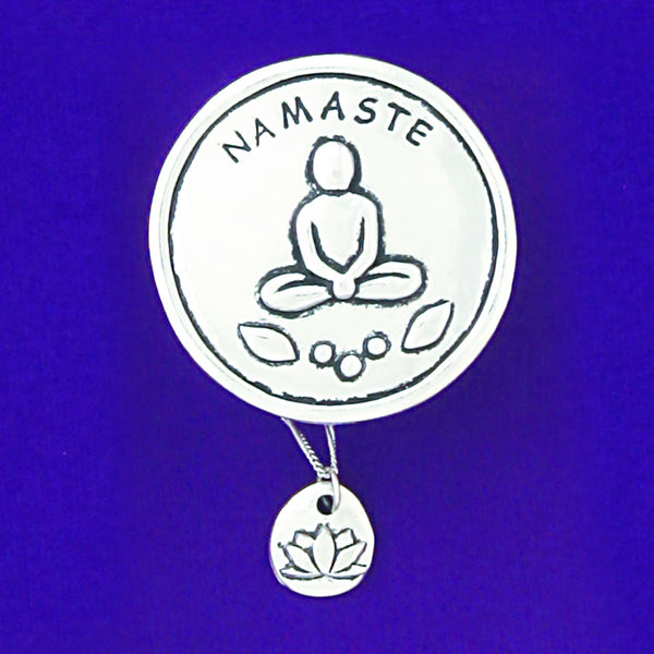 "Pewter Wish Box and Necklace ""Namaste"" and Lotus Charm Necklace"