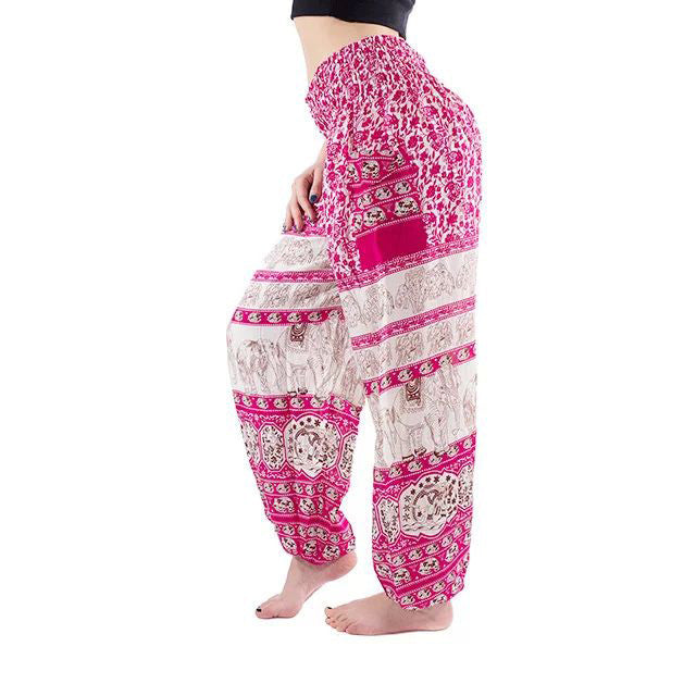 Pink Elephant Print Yoga Pants