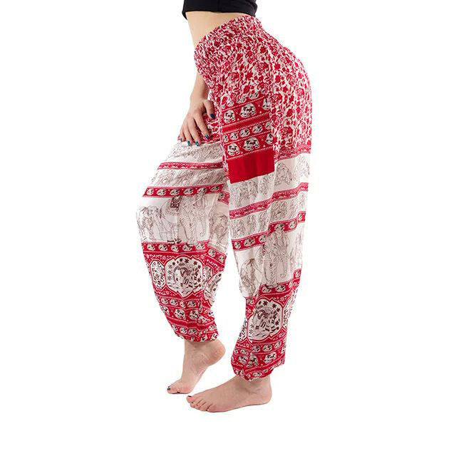 Red Elephant Print Yoga Pants