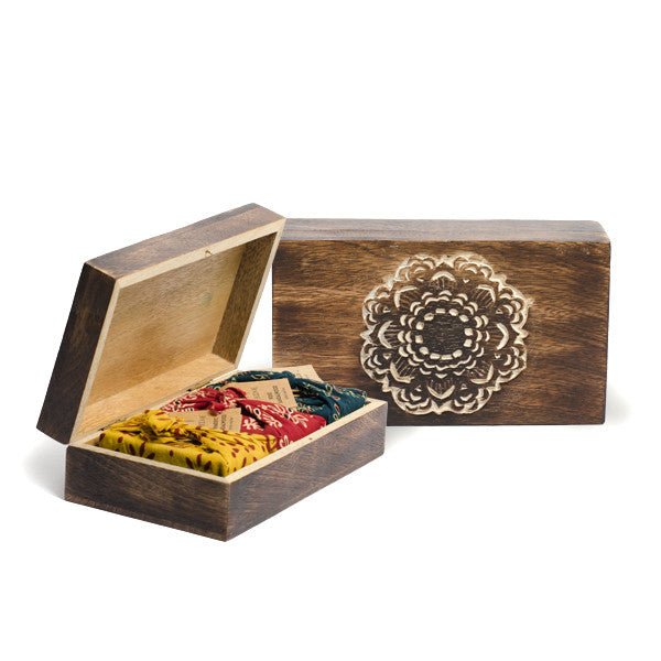 "Three ""Scents of India"" Soaps In Mandala Carved Wooden Keepsake Box"