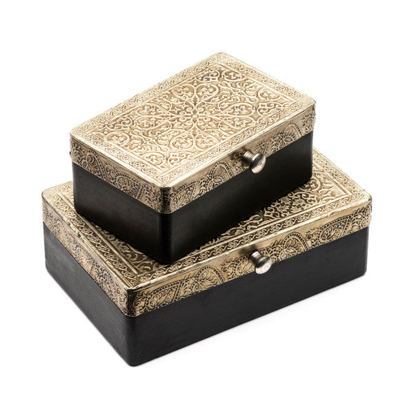 Engraved Metal and Wood Silver Treasure Box (2 sizes)
