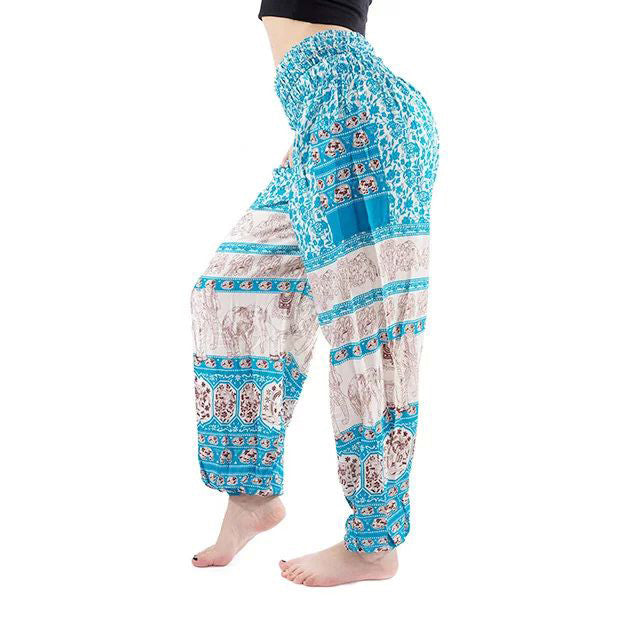 Sky Blue Elephant Print Yoga Pants
