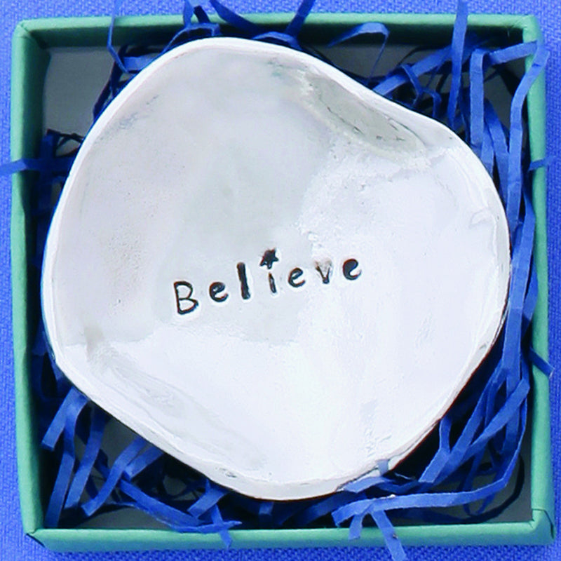 "Pewter Trinket Dish ""Believe"" - small"