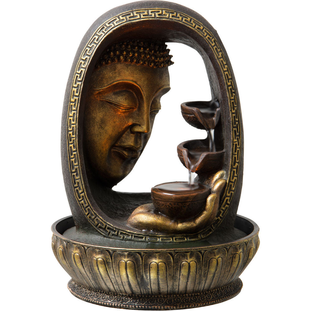 Water Fountain With Gold Buddha Gazing Down At Hand Holding Bowl