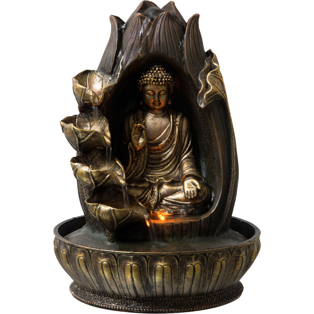 Water fountain with gold buddha meditating in lotus flower water fountain with gold buddha meditating in lotus flower dhlflorist Images