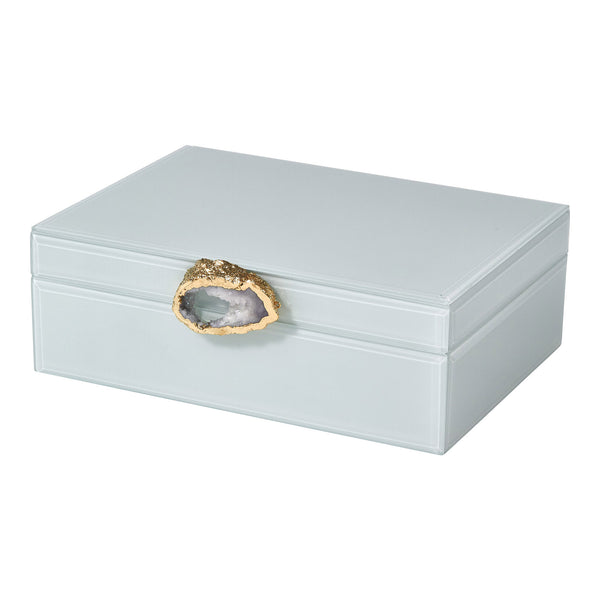 Glass Paneled White Keepsake Box With Stone Pendant