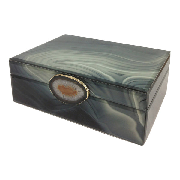 Marble-Like Finished Glass Keepsake Box with Stone Pendant (Small, Large)