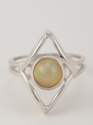 Opal Shield Ring-Sterling Silver
