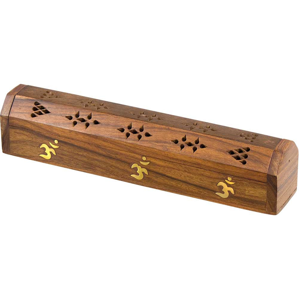 Wood Incense Storage Box and Burner With Brass OM Symbol Inlays