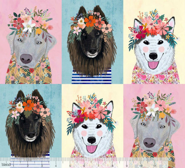 More Floral Puppies PANEL in Multi