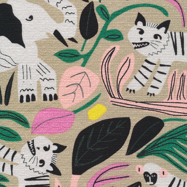 Jungle Forest BARKCLOTH in Gray Organic