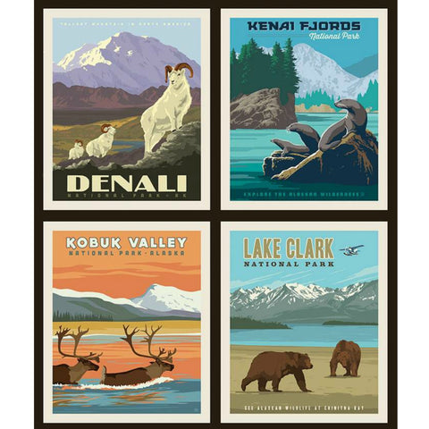 National Parks Alaska 1 Pillow PANEL in Black