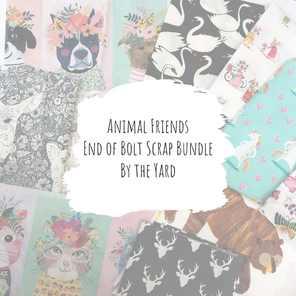Animal Friends - Cotton End of Bolt Scrap Bundle (By the Yard)