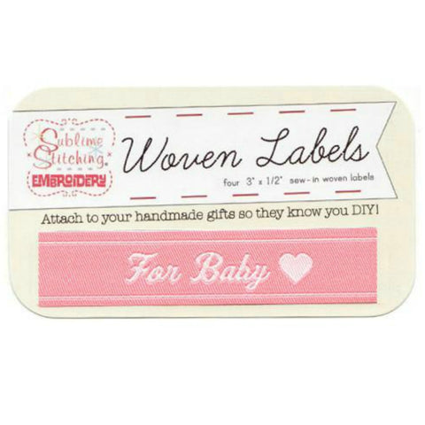 Woven Labels - For Baby in Pink