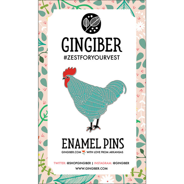 Gingiber Farm Charm Enamel Pin in Blue Chicken