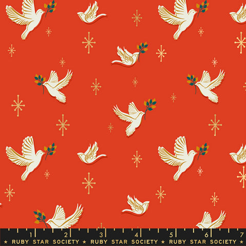 Doves in Poinsettia Metallic
