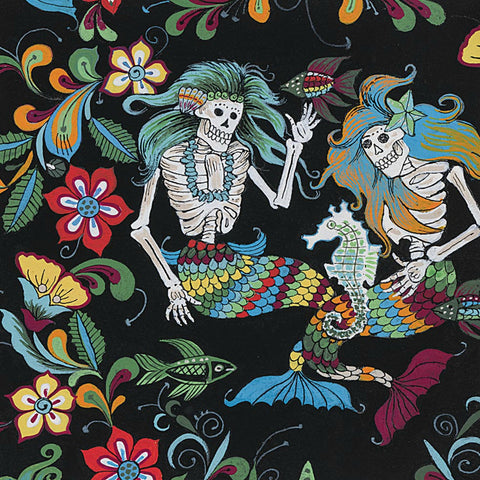 Esqueletos Del Mar (skeletons from the sea) in Black / Multi - Last Fat Quarter