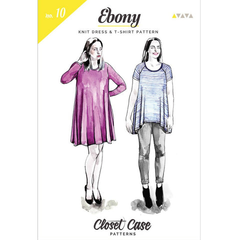 Closet Core Patterns - Ebony T-Shirt & Knit Dress Pattern (paper)
