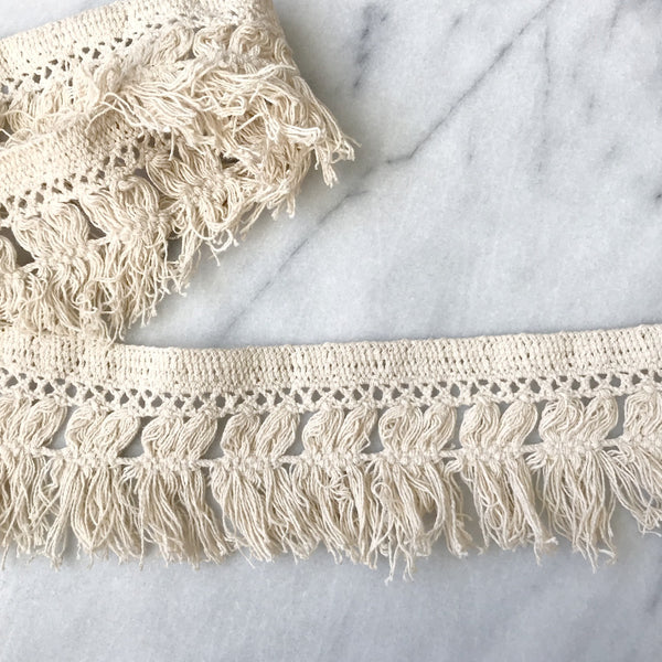 "Boho Crochet Fringe Trim 3"" in Cream"