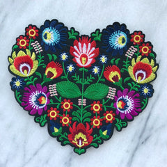 Embroidered Floral Heart Patch (large)