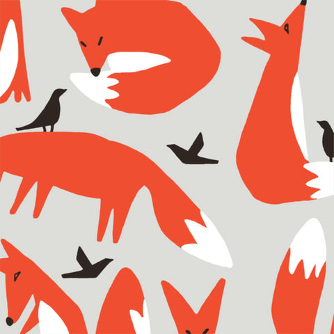 Foxes CANVAS in Gray Organic - Last Fat Quarter
