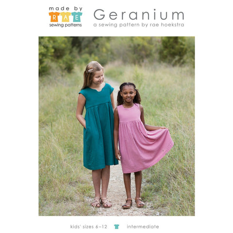 Made by Rae Geranium Children's Dress Pattern - Kid's sizes 6-12 (paper)