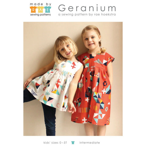 Made by Rae Geranium Children's Dress Pattern - Baby / Toddler sizes 0-5T (paper)