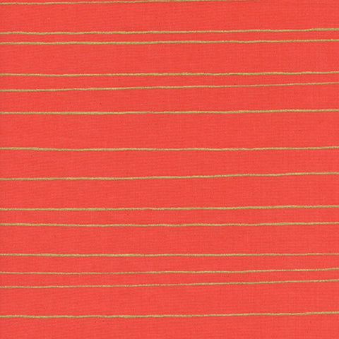 Gold Stripes in Red Metallic