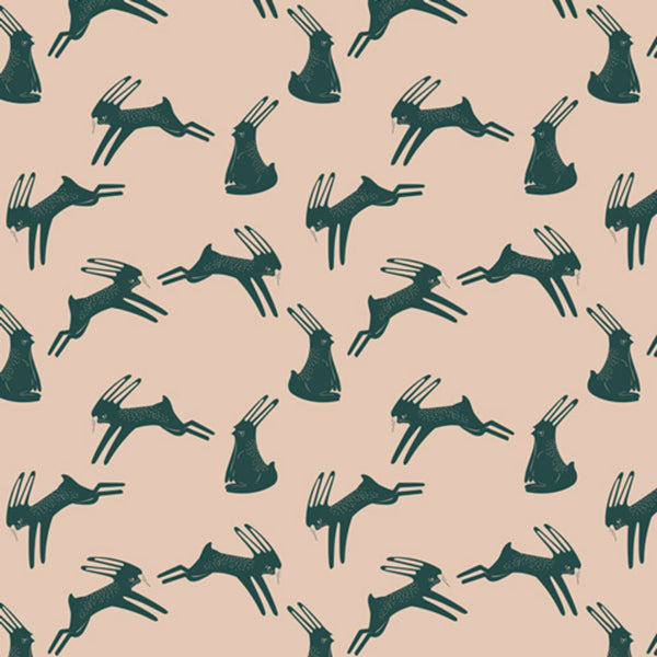 Hopping Hare in Peach