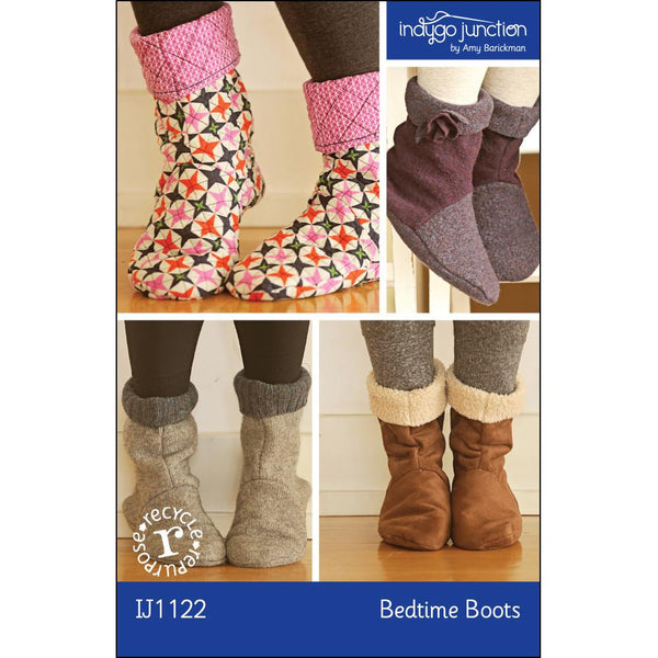 Indygo Junction - Bedtime Boots Adult Slipper Pattern (paper)