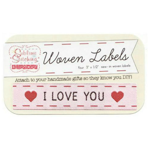 Woven Labels - I Love You in White