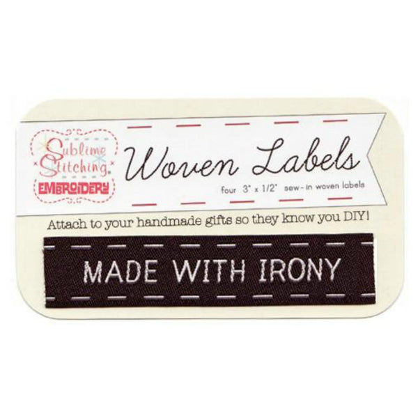 Woven Labels - Made With Irony in Black