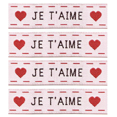 Woven Labels - Je T'aime in White